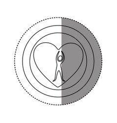 Sticker of monochrome silhouette of double circle vector