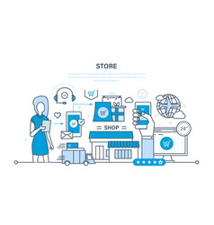 store and online purchase delivery support vector image vector image