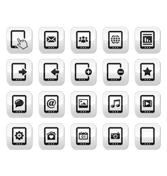 Tablet grey square buttons set - vector image vector image