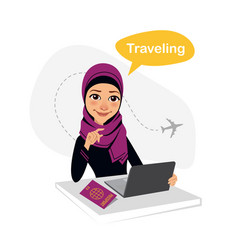Travel agency banner arab woman works in office vector