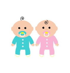 Twins two cute twin babies on white background vector