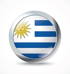 Uruguay flag button vector image vector image