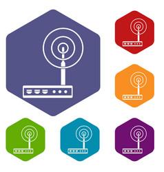 Wifi router icons set hexagon vector