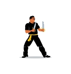 Wing chun kung fu master with two swords vector