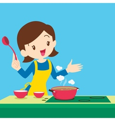 woman present cooking vector image vector image