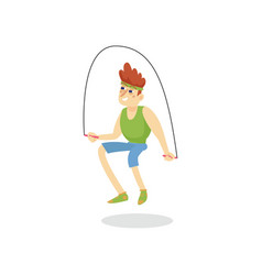 Young man skipping with jump rope man working out vector
