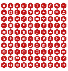 100 coffee icons hexagon red vector