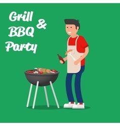 Man of cooking meat with a grill barbecue party vector