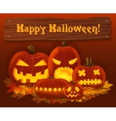 Halloween pumpkin background scary horror vector
