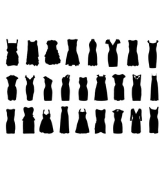 Set of dresses silhouette isolated on white vector
