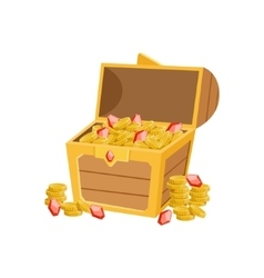 Half open pirate chest with golden coins and vector