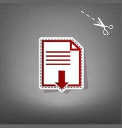 File download sign  red icon with for vector
