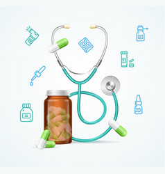Pharmacy concept with pills capsules in medical vector