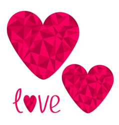 Two pink hearts polygonal effect love card isolate vector