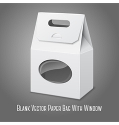 Blank white realistic paper packaging bag with vector