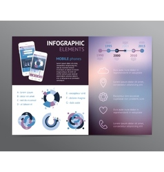 Template with infographic elements and phones vector