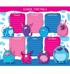 School timetable monsters vector