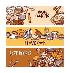 Baking Sketch Color Banner Set vector image