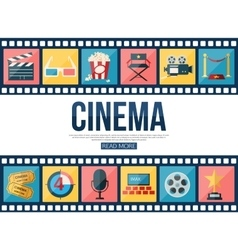 Film strips and cinema icons set for infographics vector image