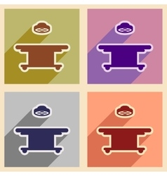 Icons of assembly operating table in flat style vector