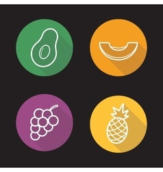 Tropical fruits flat linear icons set vector
