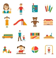 Kindergarten icons set vector