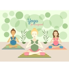 Three beautiful pregnant women practicing yoga vector