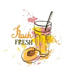 Hand drawn peach juice in glass vector