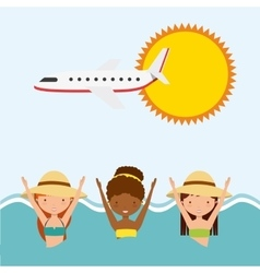 Girls sun airplane sea icon swimming and pool vector