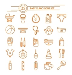 Baby clinic linear icons set vector