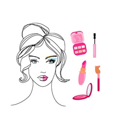 beautiful girl wearing half face makeup vector image