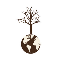 Brown color world earth with branch three without vector
