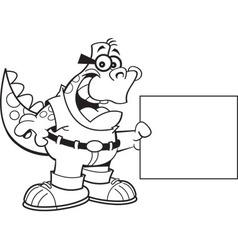 Cartoon Dinosaur Holding a Sign vector image vector image