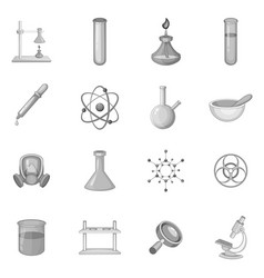 Chemical lab icons set monochrome vector