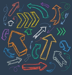 Collection of scribble arrows hand-drawn on a dark vector image vector image