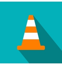 Cone traffic flat icon vector image vector image
