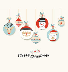 cute merry christmas retro bauble greeting card vector image