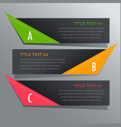 Dark horizontal banners options infographic vector