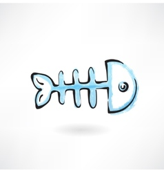 fish bone grunge icon vector image