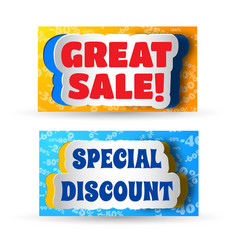 Great sale and special discount banners vector