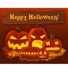 Halloween pumpkin background Scary horror vector image vector image