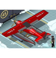 Isometric artic hydroplane landed in rear view vector