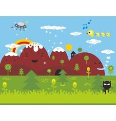 Little black cat ln the wonderful place vector