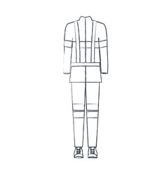 Monochrome blurred silhouette of male uniform of vector
