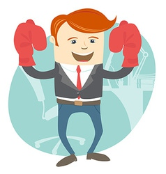 Office man wearing boxing gloves in front of vector image
