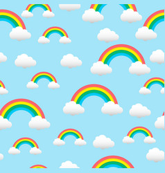 Pattern with a rainbow and clouds vector