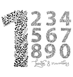 set of numbers from one to ten made with hand vector image vector image