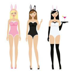 Sexy women in erotic bunny ears costumes adult vector