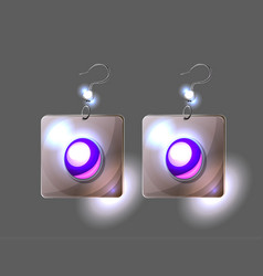 Silver earrings isolated on black vector