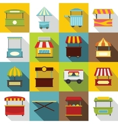 Street food truck icons set flat style vector